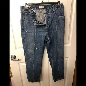 LEVIS ALTERED Denim Jeans STRAIGHT Leg Paint Sz 32